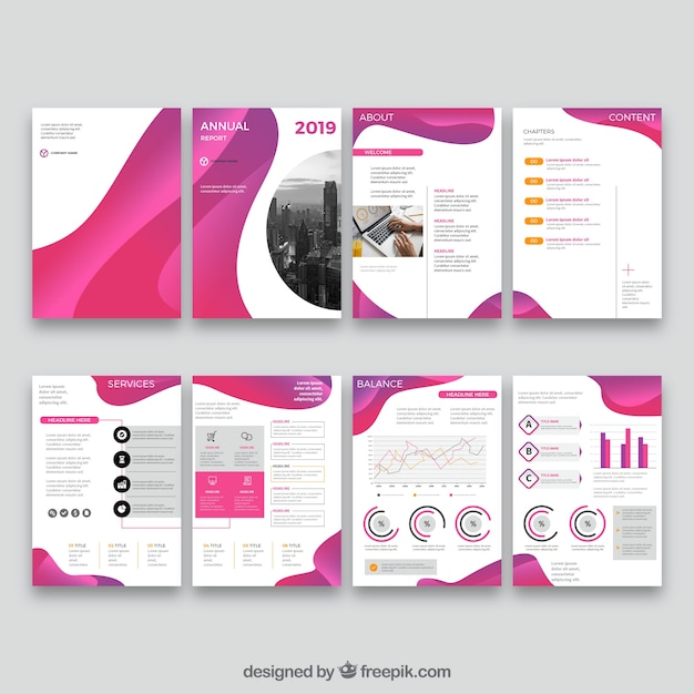 Pink collection of annual report cover templates Free Vector