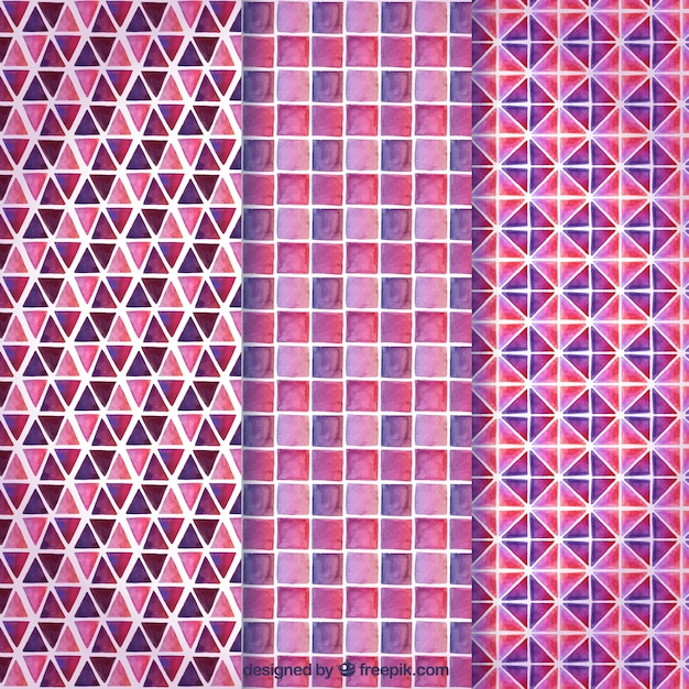 Pink collection of geometric patterns