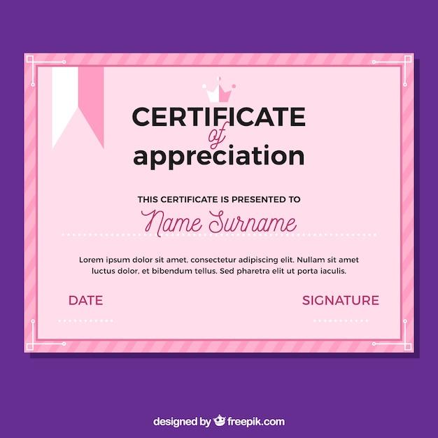 認識のピンクカラーの卒業証書 無料ベクター