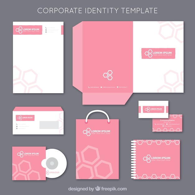 Pink corporate identity template Free Vector