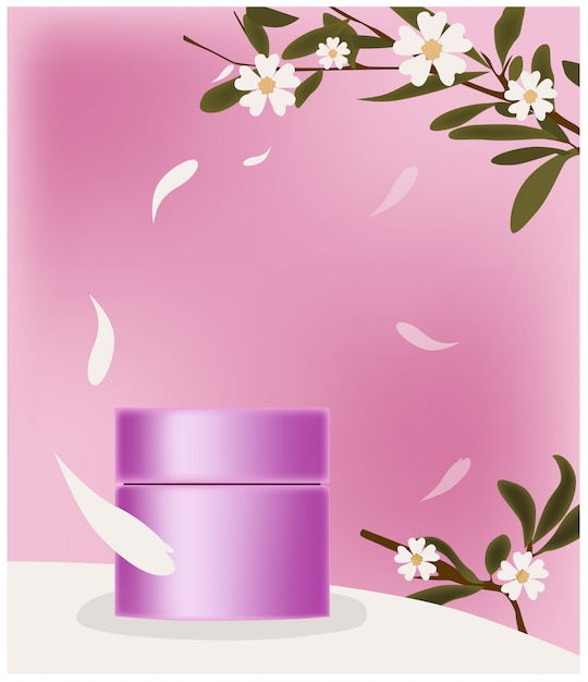 花びらに囲まれたピンクの化粧品の瓶。ブランドのための場所。花の装飾の小枝 無料ベクター