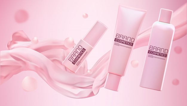 Pink cosmetic products with smooth fabric with shimmering effect on pink Premium Vector