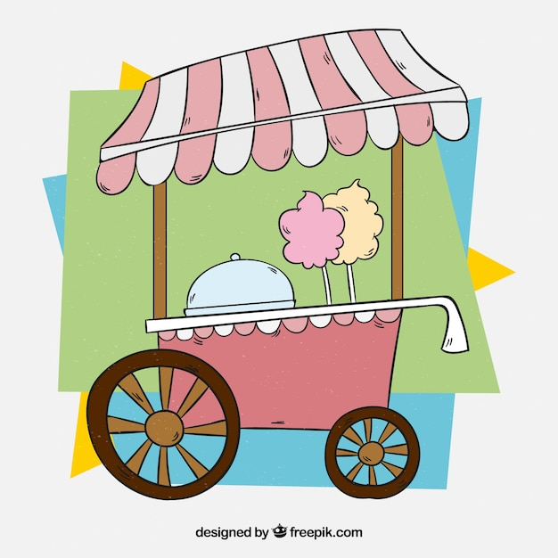 Pink cotton candy cart with colorful background