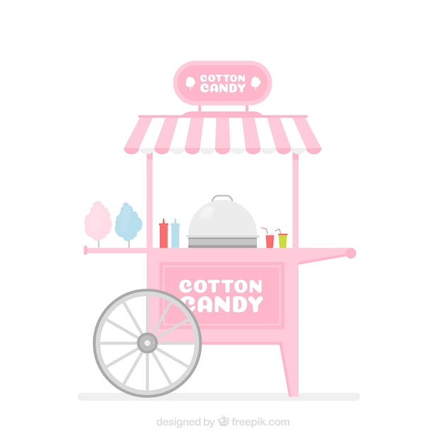 Pink cotton candy cart with flat design