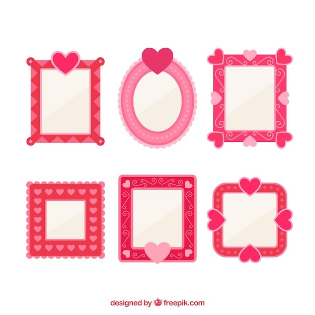 Pink cute love frames Vector   Free Download