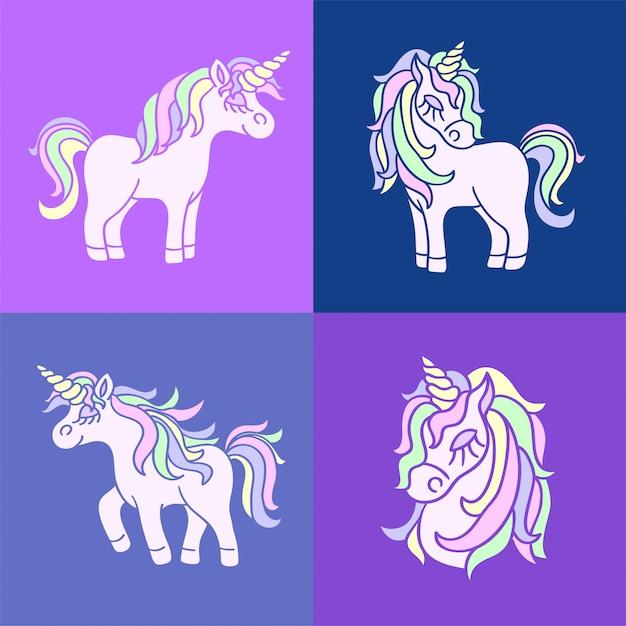 紫に設定されたピンクのかわいいユニコーンスケッチ Premiumベクター