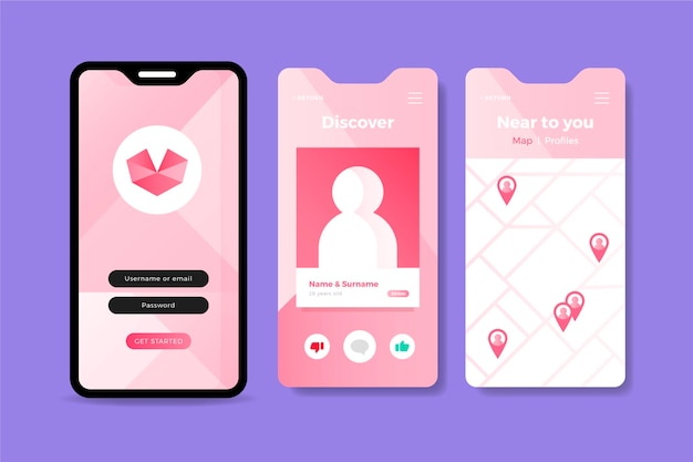 Pink dating app interface on mobile phone | Free Vector