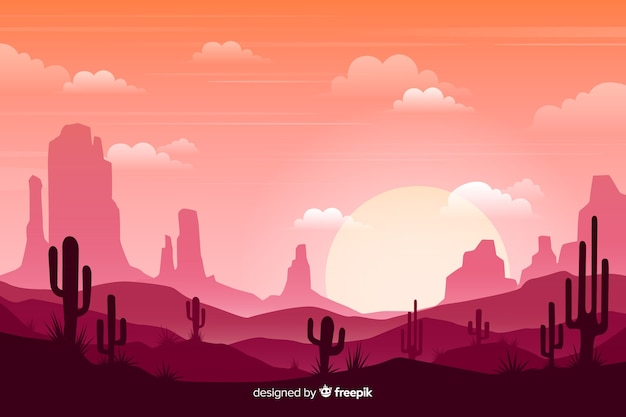 Pink desert with bright sun and cloudy sky Free Vector