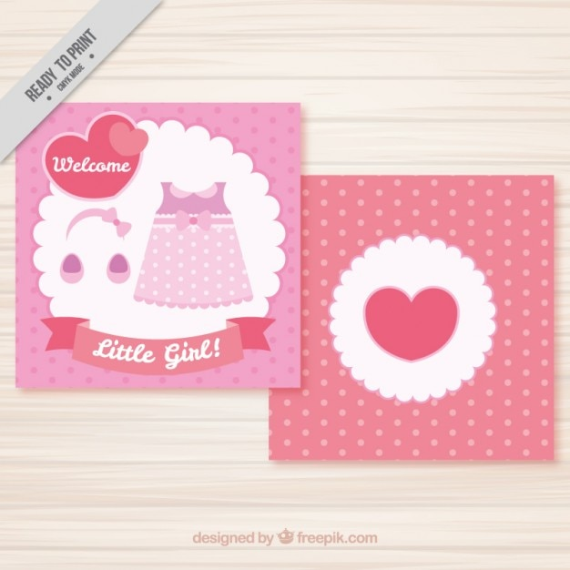 Pink dress baby card
