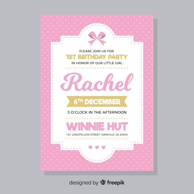 Pink First Birthday Invitation Card Vector Free Download
