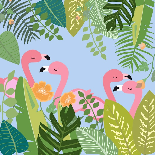 Pink flamingo in botanical tropical forest. Premium Vector