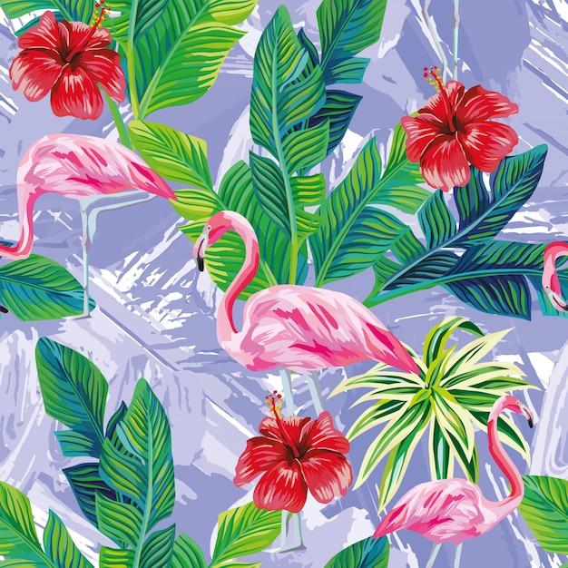 Pink flamingo leaves seamless pattern Premium Vector