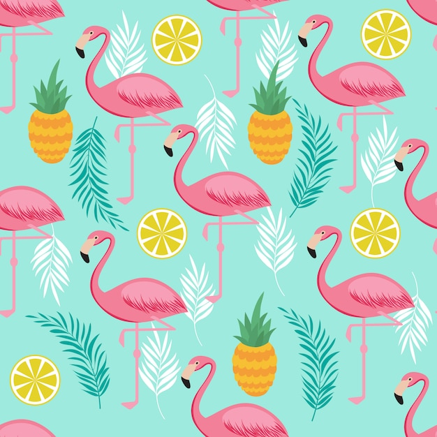 Pink flamingo, pineapples and exotic leaves seamless pattern Premium Vector