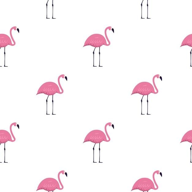 핑크 플라밍고 원활한 패턴 배경입니다. 삽화 프리미엄 벡터