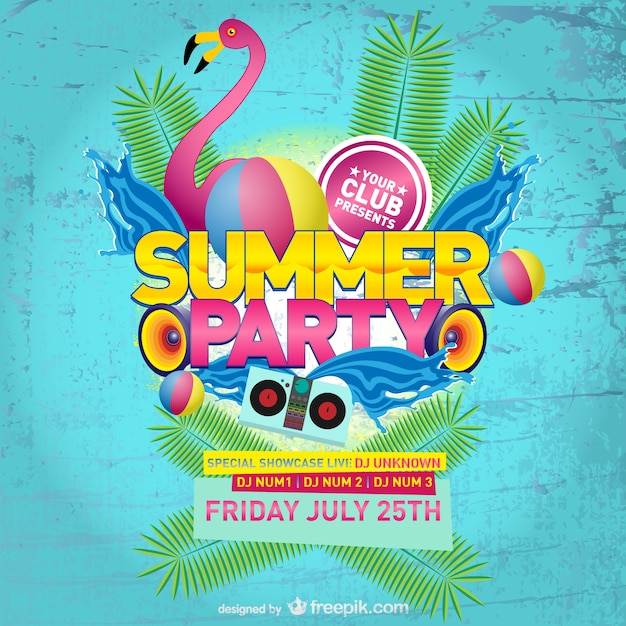 Pink Flamingo Summer Party Poster Free Vector