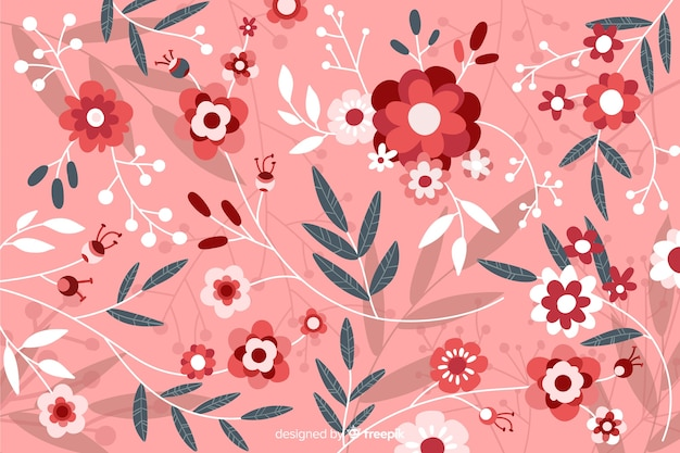 Pink flat beautiful floral background Free Vector