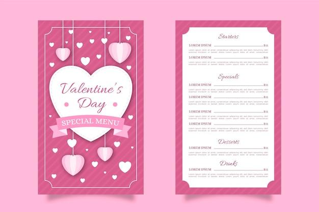 Pink flat valentine's day menu Free Vector