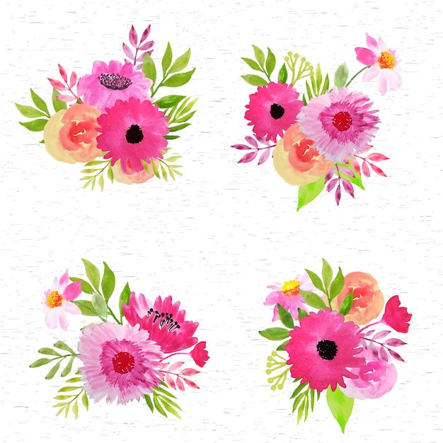 Pink floral arrangement watercolor collection Premium Vector