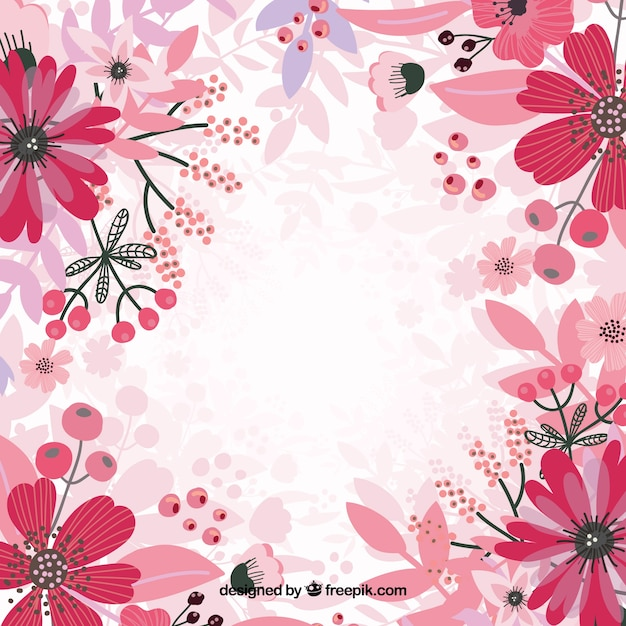 Pink floral background vector Free Vector