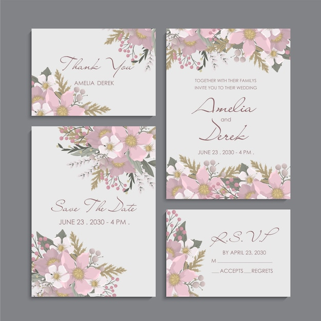 Pink floral background - wedding invitation set Free Vector