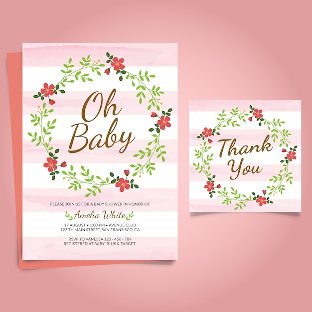 Pink floral card for baby shower Free Vector