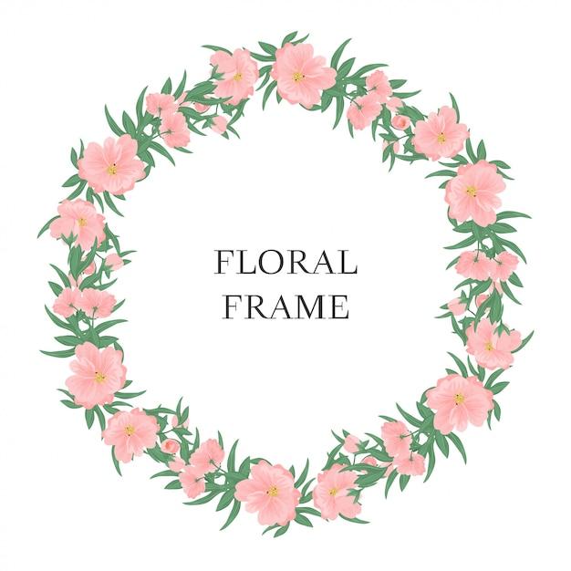 Pink floral circle frame Premium Vector