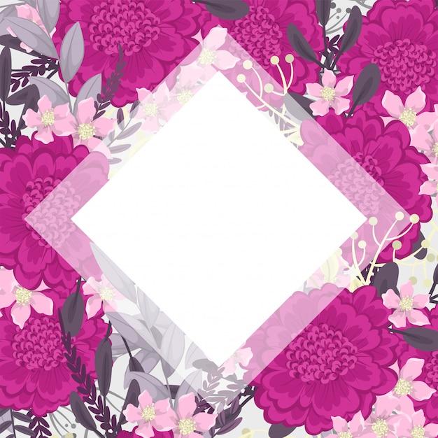 Pink floral frame background vector Free Vector