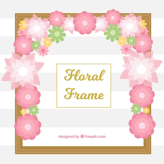 Pink floral frame, flat style