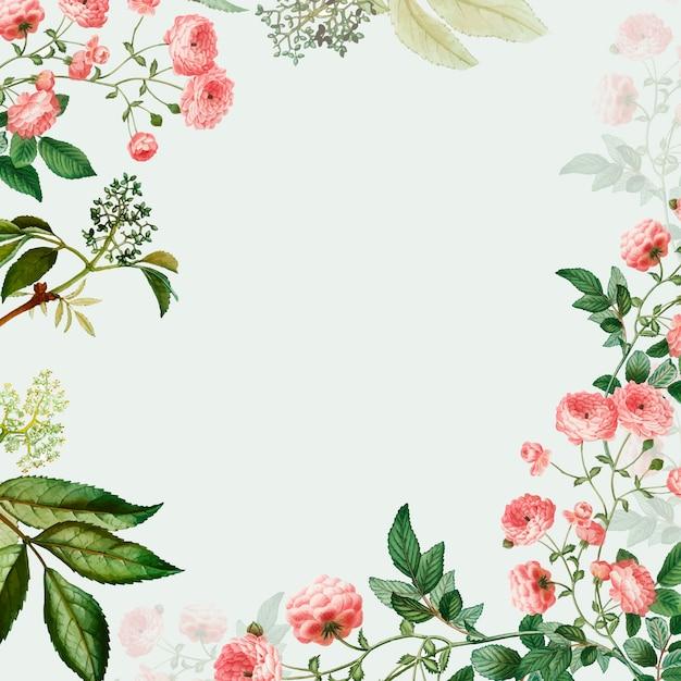 Pink floral frame Free Vector