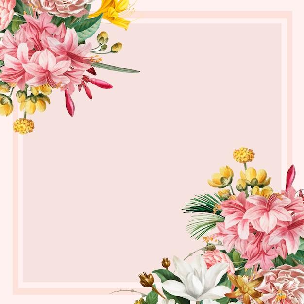 ピンクの花のフレーム 無料ベクター