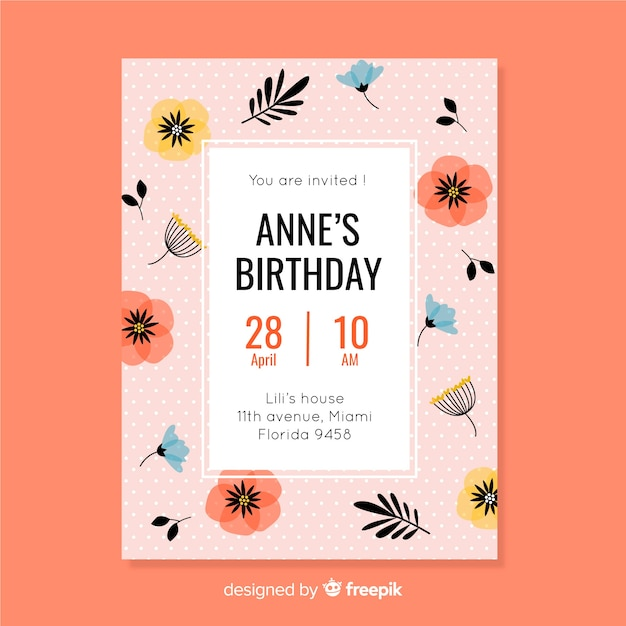 Pink floral invitation for children birthday Free Vector