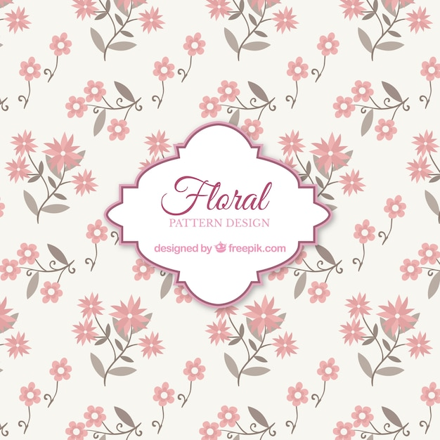 pink floral pattern background with flat design vector