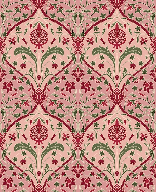 Pink floral pattern with pomegranate. seamless filigree ornament. Premium Vector
