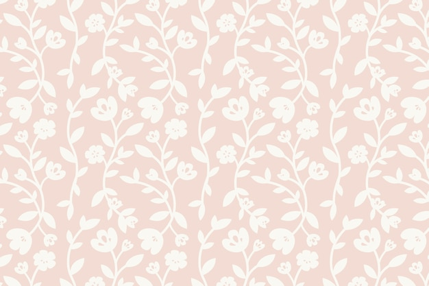 Pink floral patterned background vector Free Vector
