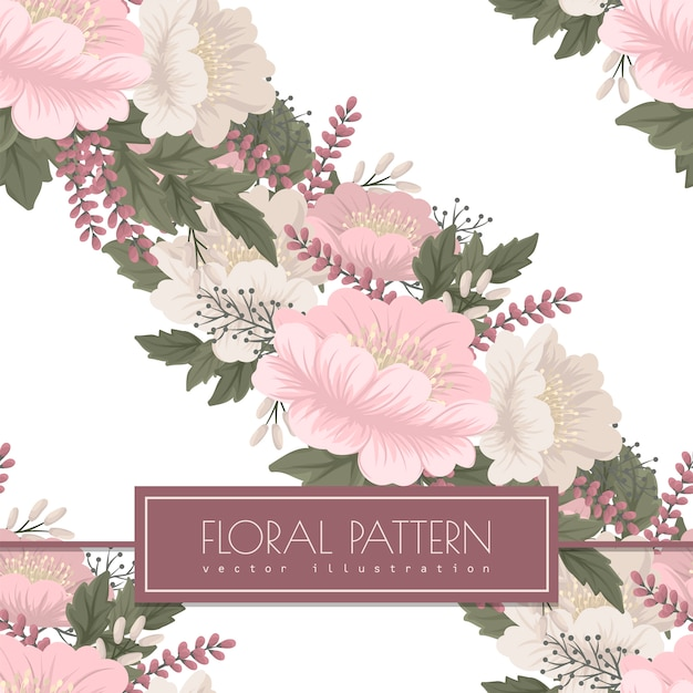 Pink floral  seamless pattern Free Vector