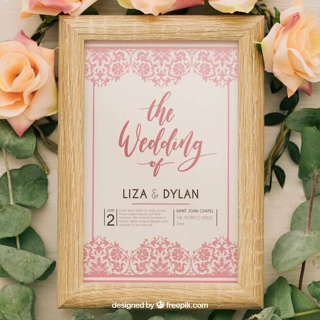 Pink floral vintage wedding invitation