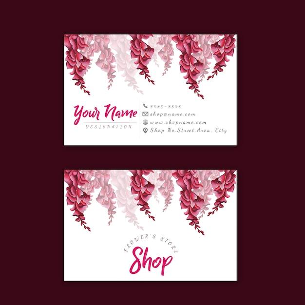 ピンクの花訪問カード Premiumベクター