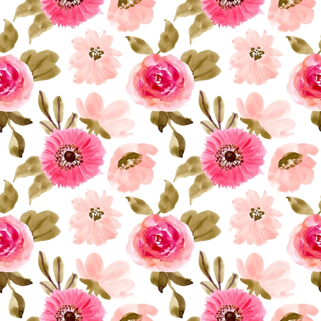 Pink floral watercolor seamless pattern Premium Vector