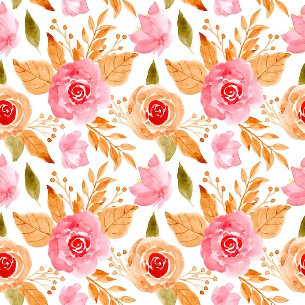 Pink floral watercolor seamless pattern Premium Vector
