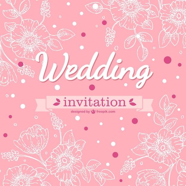 Pink Wedding Cards Background Pink floral wedding ca...