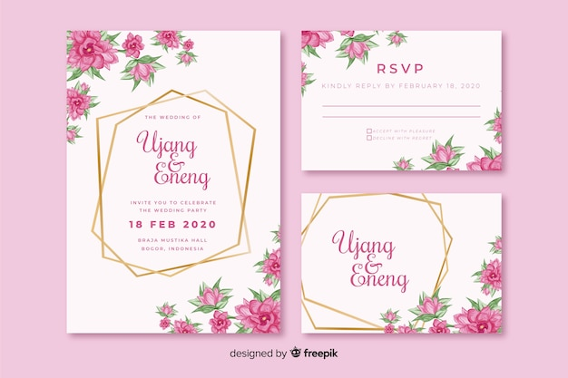 Pink floral wedding invitation template Free Vector