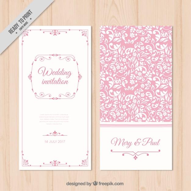 Download Pink Flower Wedding Vector Invitation Flowers