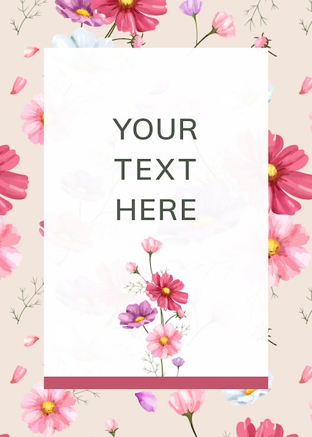 Pink flower background frame template Free Vector