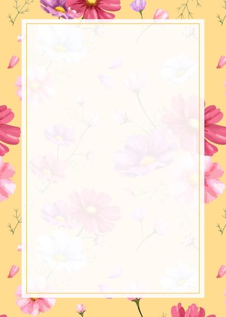 Pink flower background frame Free Vector