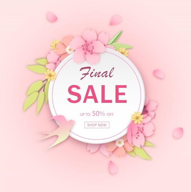 Pink flower discount banner template Premium Vector