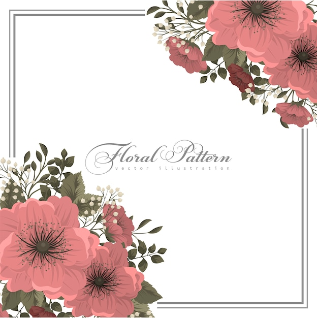 Pink flower illustration  floral frame Free Vector
