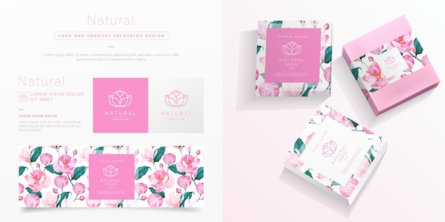 Pink flower packaging template. Free Vector