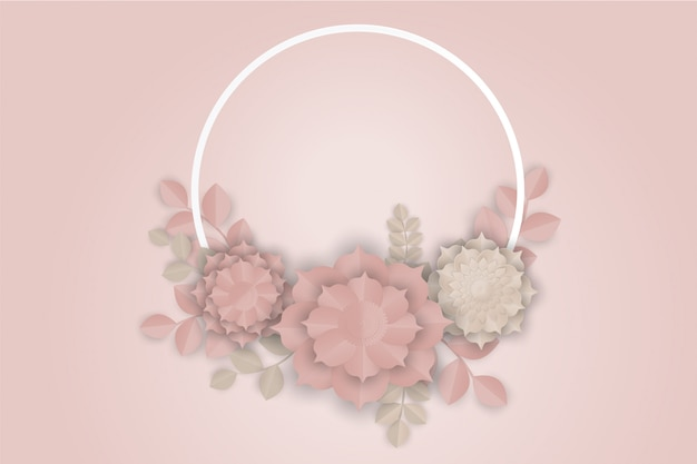Pink flower paper art on pink background Premium Vector