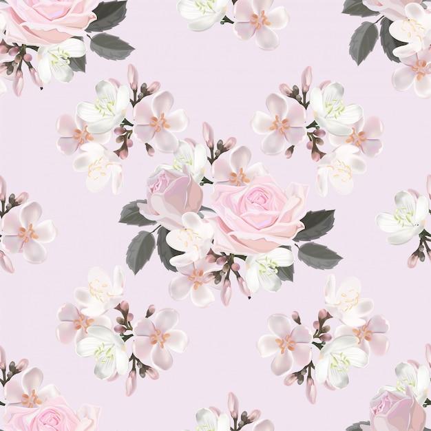 Pink flower seamless pattern vector illustration Premium Vector