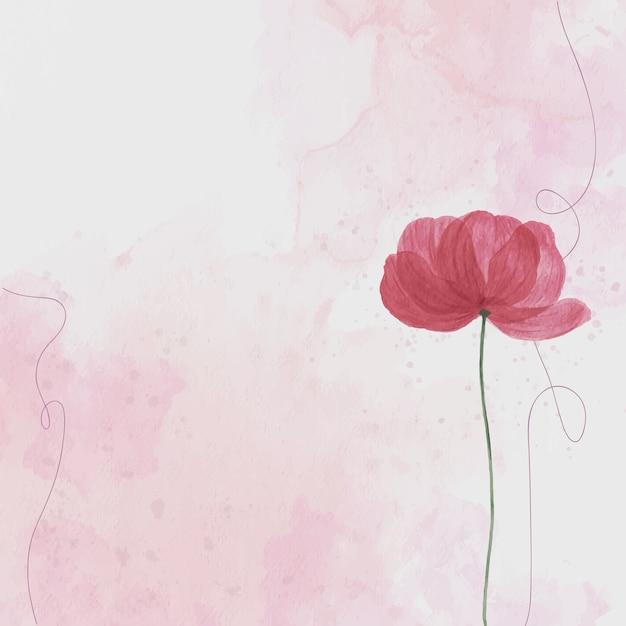 ピンクの花、水彩画の背景 無料ベクター